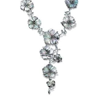 """Flower-Shaped Black Freshwater Mother-Of-Pearl Silvertone """"Y"""" Necklace 18"""" Bold Fashion