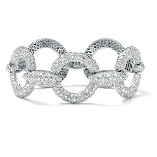 Ultimate CZ Silver Overlay Cubic Zirconia Link Bracelet