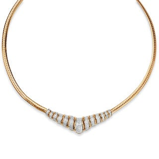 1/10 TCW Diamond Chevron and Snake-Link Necklace in 18k Gold over .925 Sterling Silver 20""