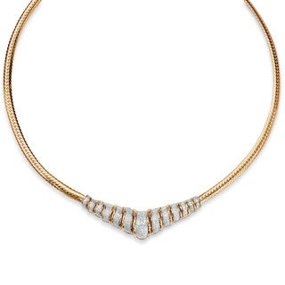 """1/10 TCW Diamond Chevron and Snake-Link Necklace in 18k Gold over .925 Sterling Silver 20"""""""