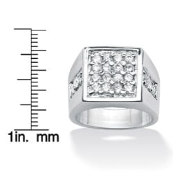 Men's 1.32 TCW Round Cubic Zirconia Square Cluster Ring in Platinum over Sterling Silver S