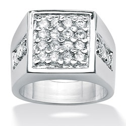 PalmBeach Men's 1.32 TCW Round Cubic Zirconia Square Cluster Ring in Platinum over Sterling Silver Sizes 8-16