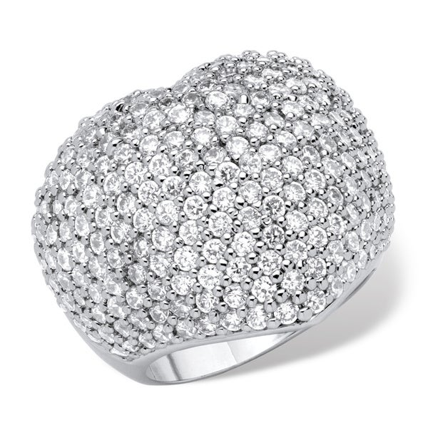 5.25 TCW Pave Cubic Zirconia Heart-Shaped Ring in Rhodium-Plated Finish Glam CZ