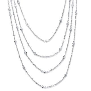"""2.94 TCW Round Cubic Zirconia Silvertone Waterfall Necklace 100"""" Classic CZ