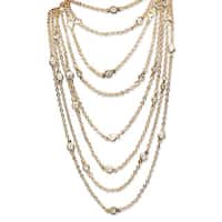 """2.94 TCW Round Cubic Zirconia Waterfall Station Necklace in Yellow Gold Tone 100"""" Classic"""