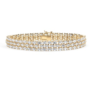 "PalmBeach 28.60 TCW Oval Cut Cubic Zirconia 18k Gold-Plated Triple-Row Tennis Bracelet 8 1/2"" Glam CZ"