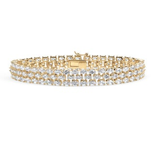 Yellow Gold-Plated Triple Row Tennis Bracelet (10.5mm), Oval Shaped Cubic Zirconia, 8.5""