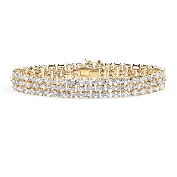 "28.60 TCW Oval Cut Cubic Zirconia 18k Gold-Plated Triple-Row Tennis Bracelet 8 1/2"" Glam C"