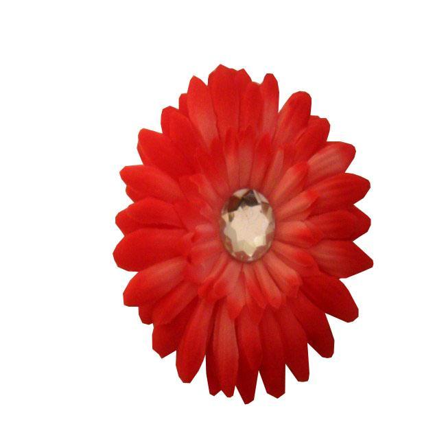 Hot Pink Flower Rhinestone Center Hair Clip