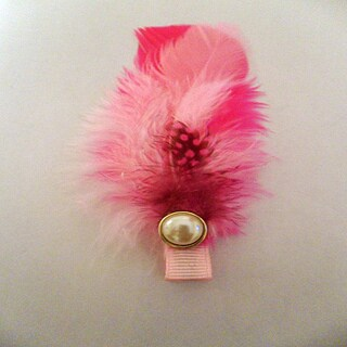 Pink Feather and Pearl Hair Clip