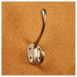 Classic Solid Brass Double Coat Hooks (Pack of 4)