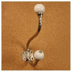 Solid Brass Rope Design With Porcelain Motif Double Coat Hooks (Pack of 3)