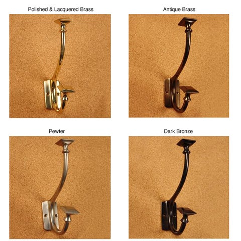 Solid Brass Art and Crafts Pyramid Double Coat Hooks (Pack of 2)