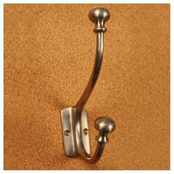 Solid Brass Mission Style Mushroom Motif Double Coat Hooks (Pack of 2)
