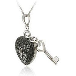DB Designs Sterling Silver Black Diamond Accent Heart and Key Necklace - Thumbnail 1