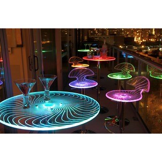 LumiSource Spyra Clear Acrylic and Chrome LED Light-up Bar Table