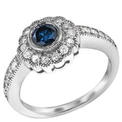 Sterling Silver 1ct TDW Blue/ White Diamond Vintage Halo Ring