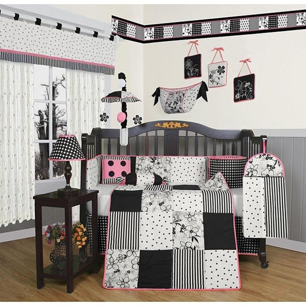 Geenny Black And White Flower Dots 13 Piece Crib Bedding Set