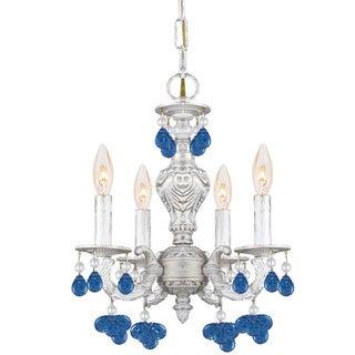Crystorama Sutton 4-light Antique White Blue Murano Mini Chandelier