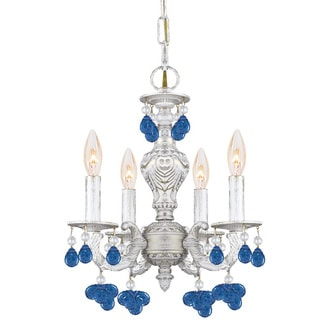 Crystorama Sutton 4-light Antique White Blue Murano Mini Chandelier