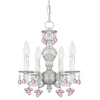 Crystorama Sutton 4-light Antique White Rose Murano Mini Chandelier