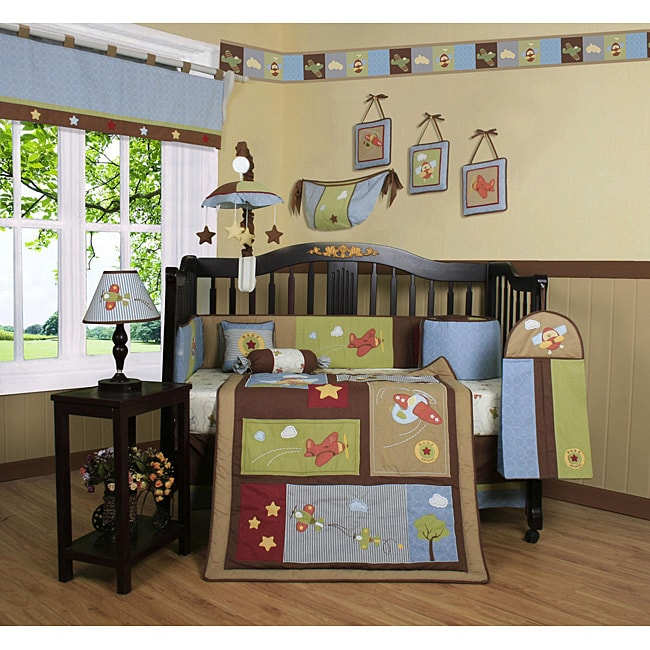Geenny Airplane Aviator 13-piece Crib Bedding Set