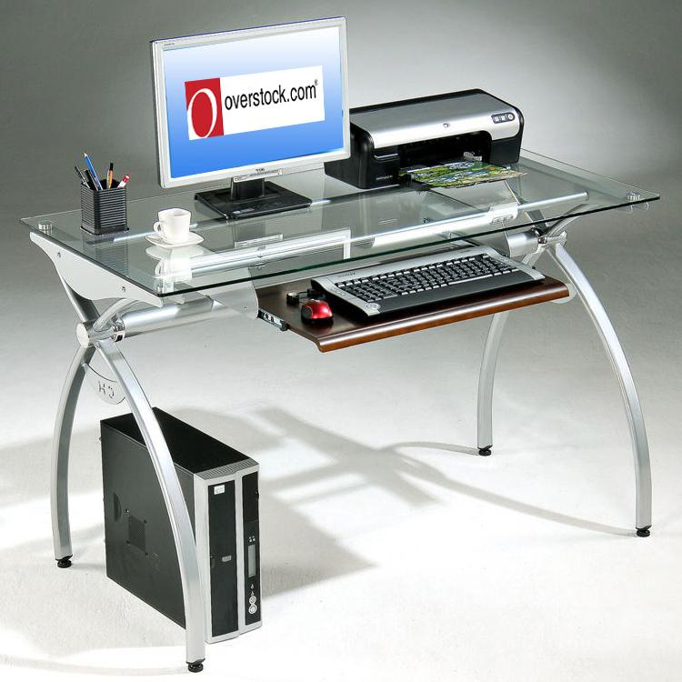 Tempered Glass Top Steel Frame Computer Desk Free