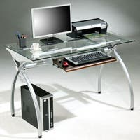 a401a348709 Shop Rovis Cherry-finished Glass Wood Metal Computer Desk with Pull ...