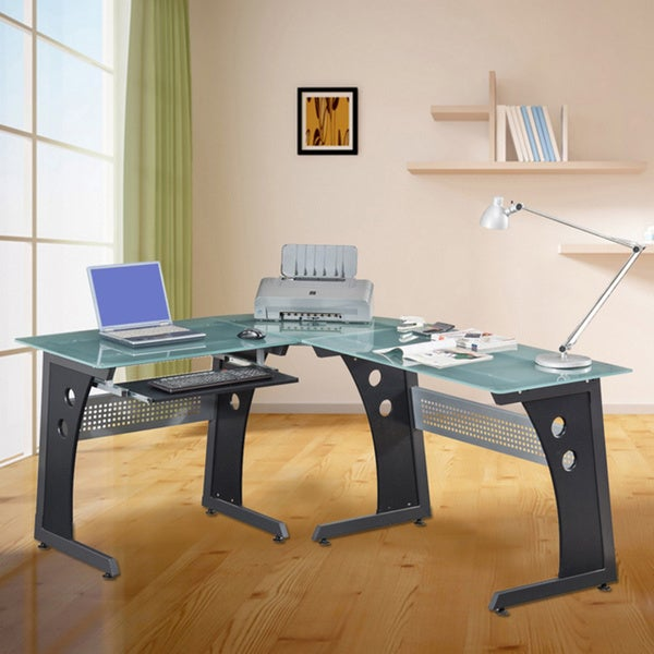 Loft-style Tempered Glass L-shaped Computer Desk - Free Shipping Today