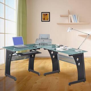 Loft Style Tempered Gl L Shaped Computer Desk