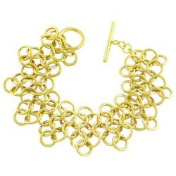 18k Goldplated Sterling Silver Multi-circle Toggle Bracelet