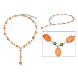 Handmade Stainless Steel 'Tangarine Marmalade' Carnelian Necklace (Thailand)