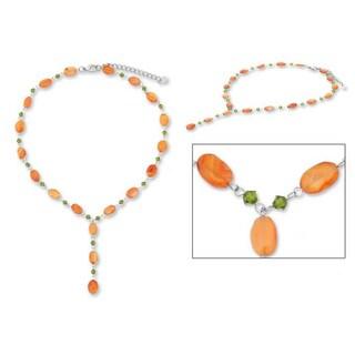 Handmade Stainless Steel 'Tangarine Marmalade' Carnelian Necklace (Thailand)
