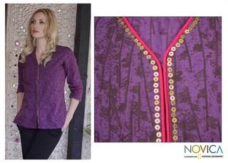Handmade Women's Cotton 'Amethyst Enchantment' Tunic (India)