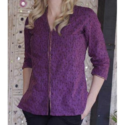 Women's Cotton 'Amethyst Enchantment' Tunic (India)