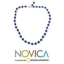 Sterling Silver 'Timeless Blue' Lapis Lazuli Strand Necklace (India) - Thumbnail 1