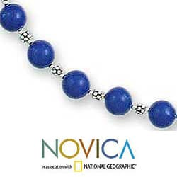 Sterling Silver 'Timeless Blue' Lapis Lazuli Strand Necklace (India) - Thumbnail 2