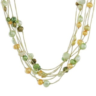 Handmade 'Spring Crocus' Pearl Strand Necklace (4-6 mm) (Thailand)