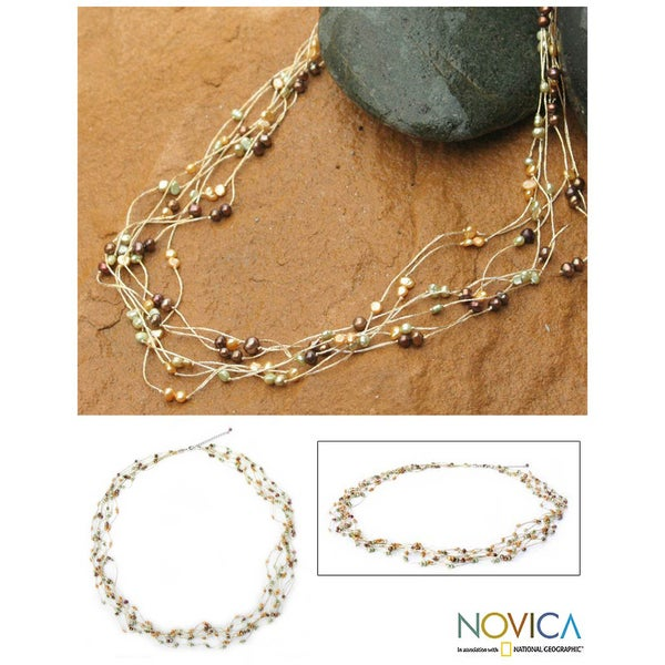 'Spring Crocus' Pearl Strand Necklace (4-6 mm) (Thailand)