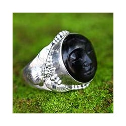 Handmade Sterling Silver 'Amun Ra' Ebony Wood Cocktail Ring (Indonesia)