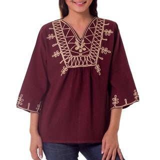 Handmade Cotton 'Earth Dance' Blouse (Thailand)