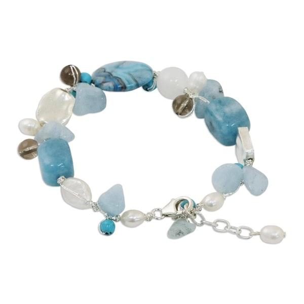 Handmade Blue Islands Pearl and Aquamarine Beaded Bracelet (Thailand). Opens flyout.