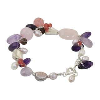 Handmade Pearl and Amethyst 'Lilac Rose' Beaded Bracelet (Thailand)