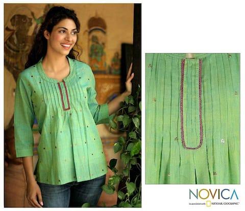 Handmade Women's 'Lemon Lime' Cotton Blouse (India)