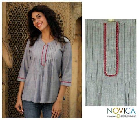 Handmade Women's 'Blue Cloud' Cotton Blouse (India)