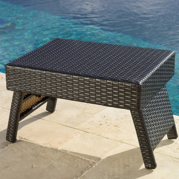 RST Outdoor Espresso Rattan Lounger Side Table   Free Shipping Today    Overstock.com   13061439