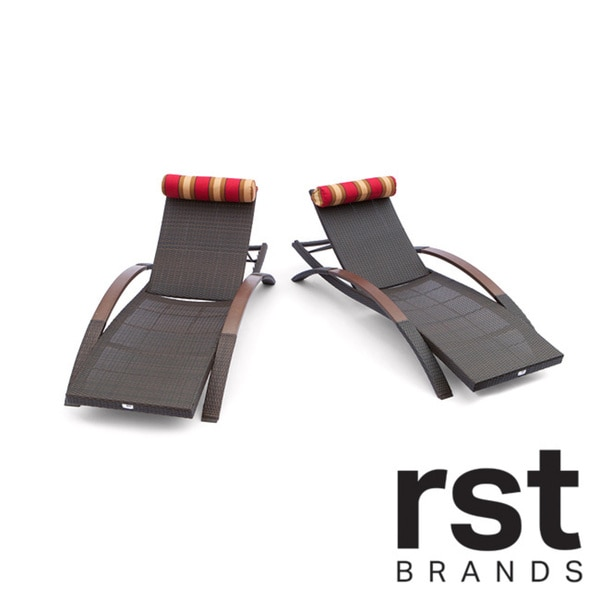 RST Cantina Arc Outdoor Espresso Rattan Chaise Loungers (Set of 2)