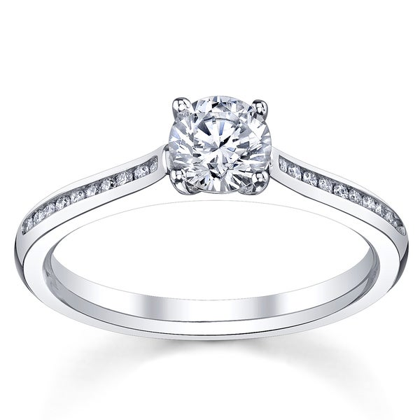 14k White Gold 1 1/6ct TDW Certified Diamond Engagement Ring (H, SI3)
