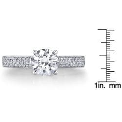 14k White Gold 1 1/4ct TDW Certified Diamond Engagement Ring (H, SI3) - Thumbnail 2