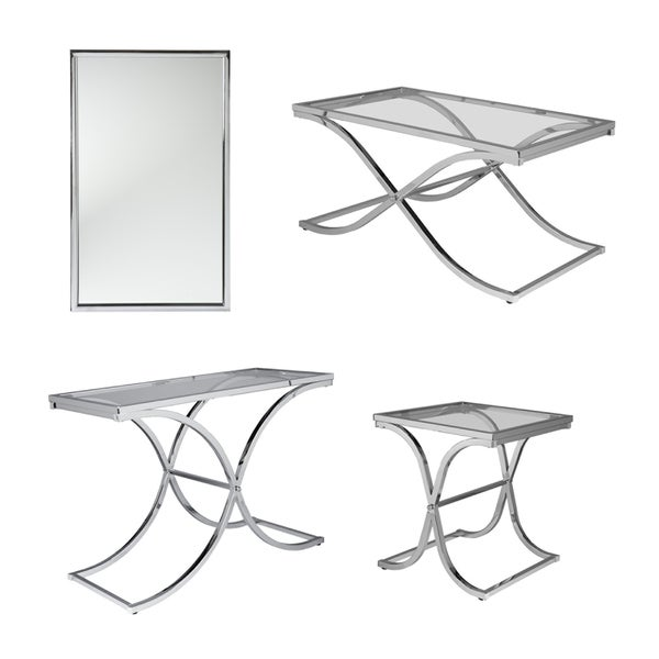 Harper Blvd Parker Chrome Cocktail Table   Free Shipping Today    Overstock.com   13061529